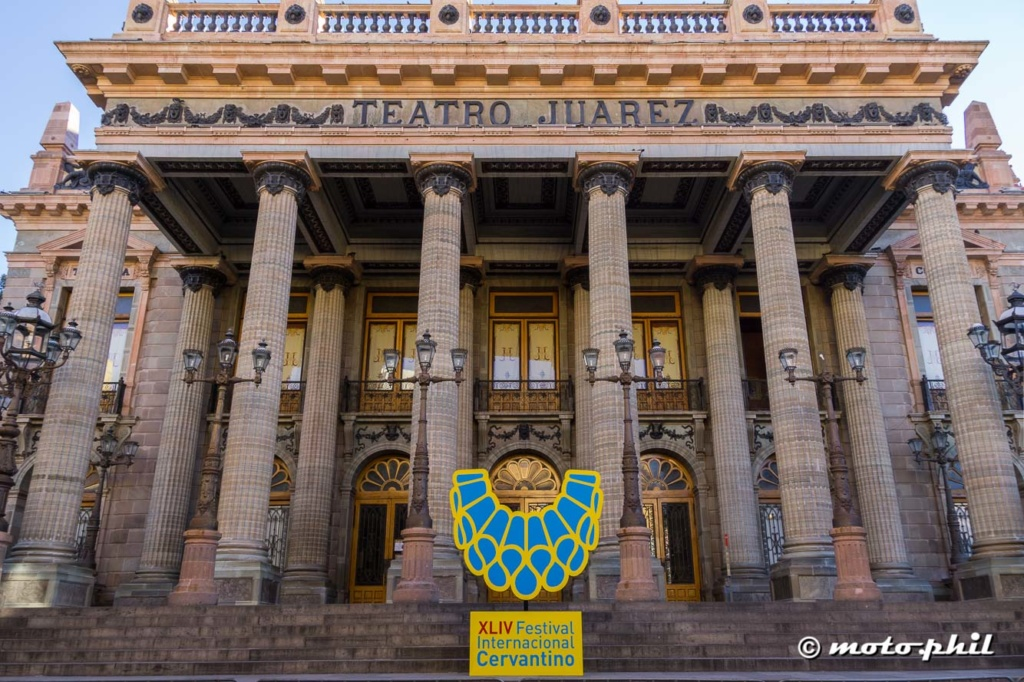 Festival Cervantino sign in front of Teatro Juarez
