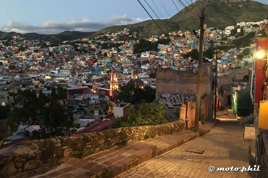 View on Guanajuato from Del Tecolote, the oldest Street in Guanajuato heading into the mountains.