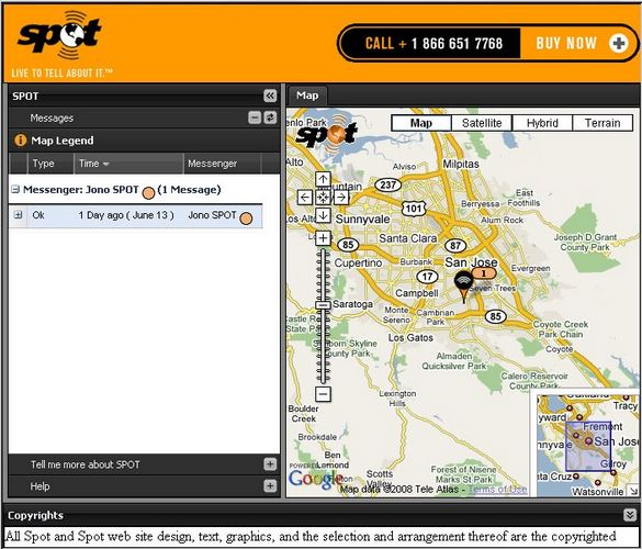 Findmespot integrated map on website