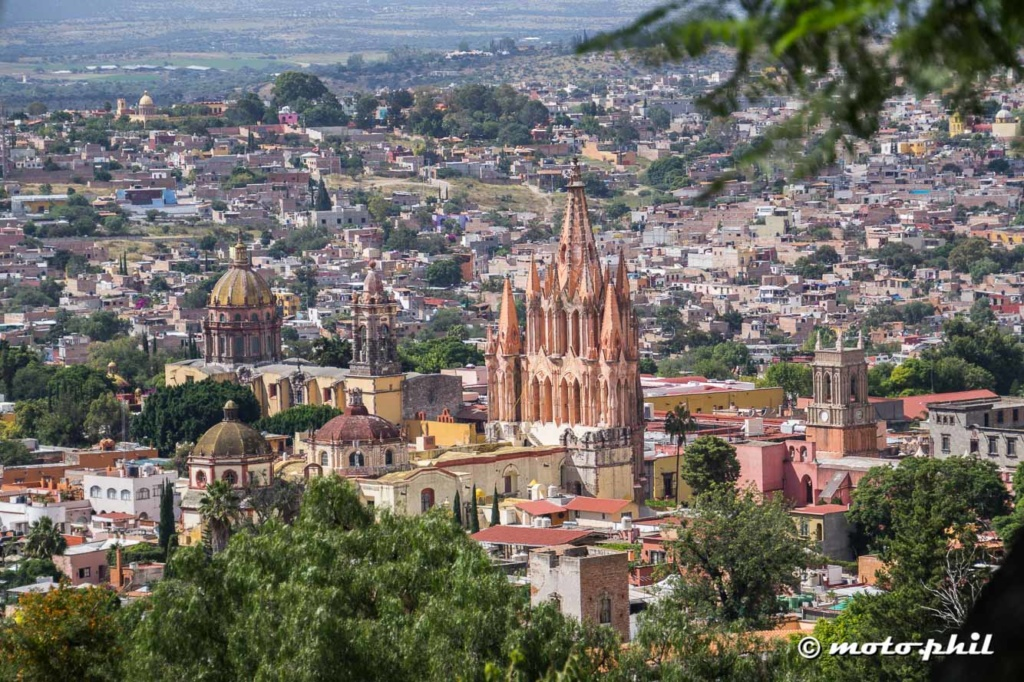 View from the mountains on San Miguel de Allende with its impressive Chruches